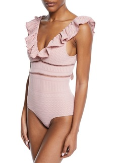 Jonathan Simkhai Lace Ruffle V-Neck One-Piece Swimsuit