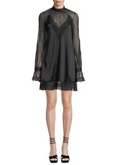 Jonathan Simkhai Lace Sateen High-Neck Open-Back Mini Dress