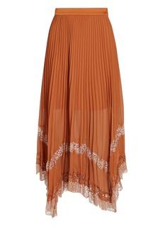Jonathan Simkhai Lace-Trimmed Pleated Midi Skirt