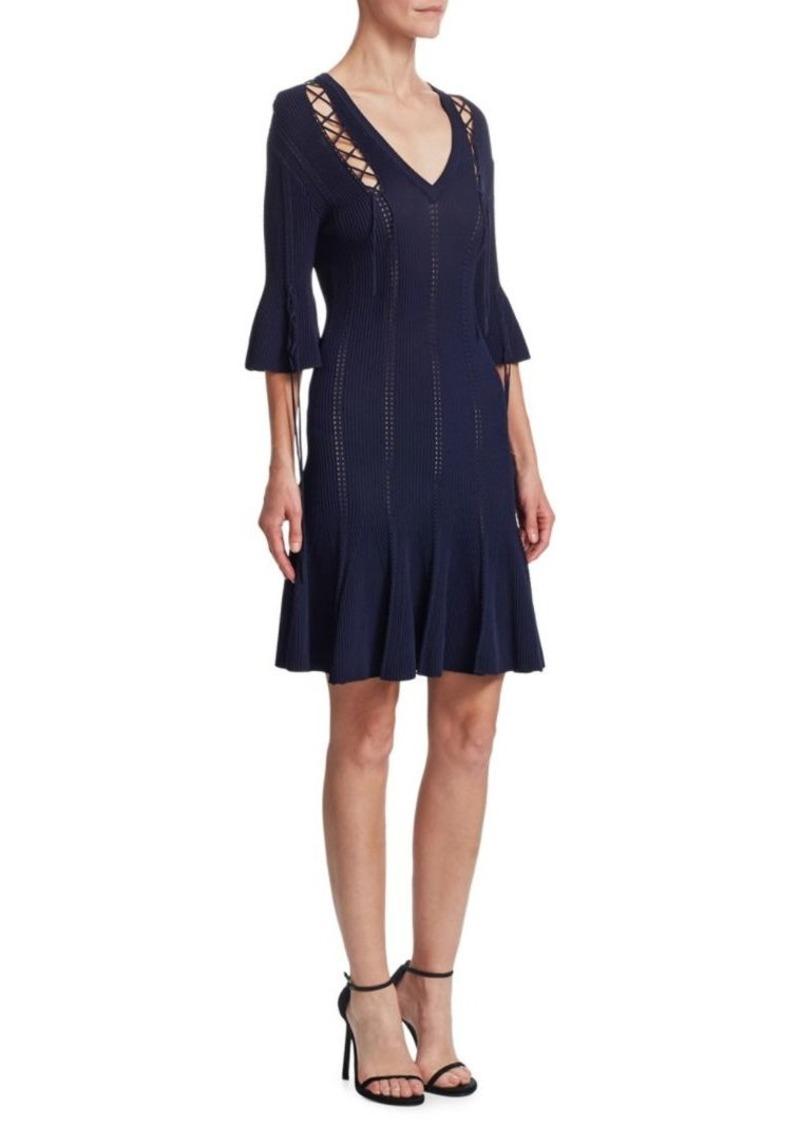 Jonathan Simkhai Lace-Up Bell Sleeve Dress