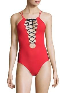 Jonathan Simkhai Lace-Up One-Piece Swimsuit