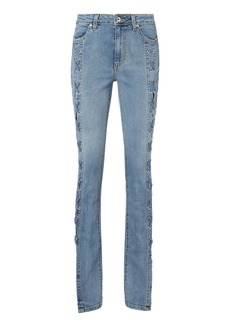 Jonathan Simkhai Lace-Up Stovepipe Blue Jeans