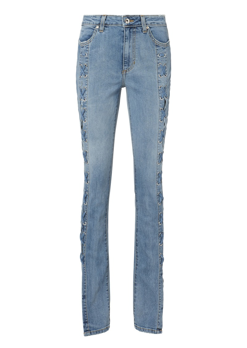 71a5f90f38 On Sale today! Jonathan Simkhai Lace-Up Stovepipe Blue Jeans