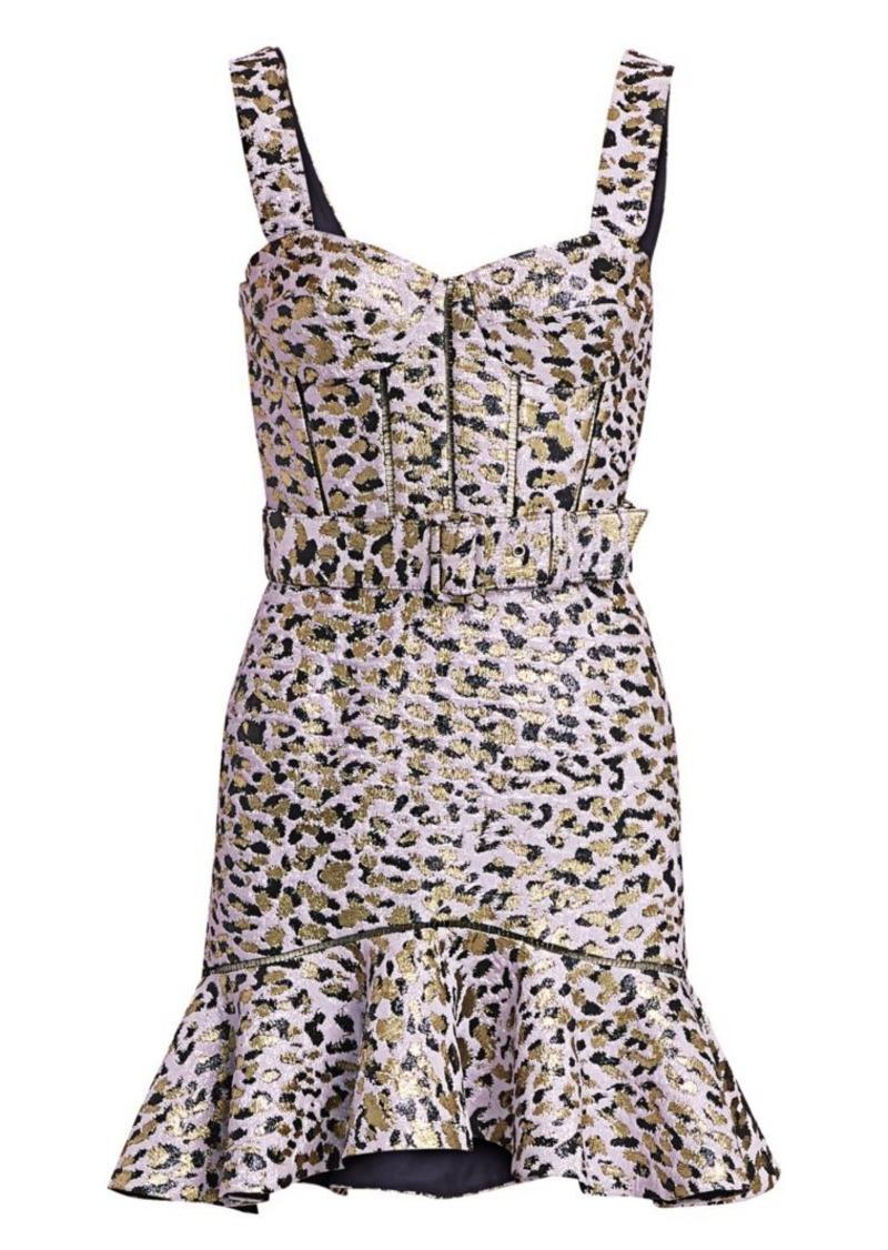Jonathan Simkhai Lamé Leopard Jacquard Bustier Ruffle Dress