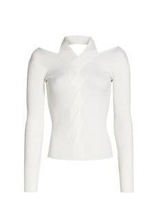 Jonathan Simkhai Leah Ribbed Cable Knit Wool-Blend Sweater