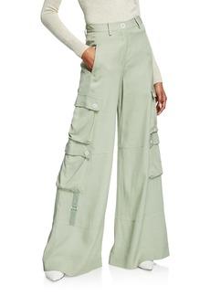 Jonathan Simkhai Lux Twill Wide-Leg Cargo Pants