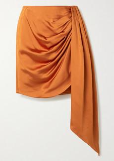 Jonathan Simkhai Mae Asymmetric Draped Satin Mini Skirt