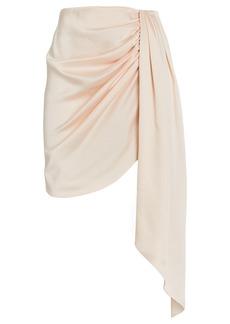 Jonathan Simkhai Mae Draped Satin Mini Skirt
