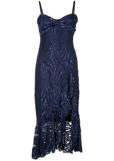 Jonathan Simkhai metallic lace bustier ruffle dress