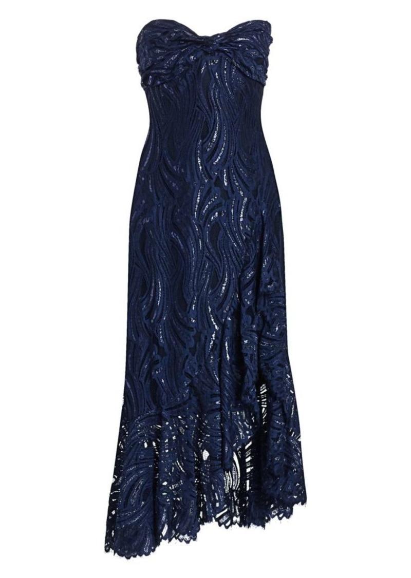 Jonathan Simkhai Metallic Lace Strapless Bustier Ruffled Midi Dress