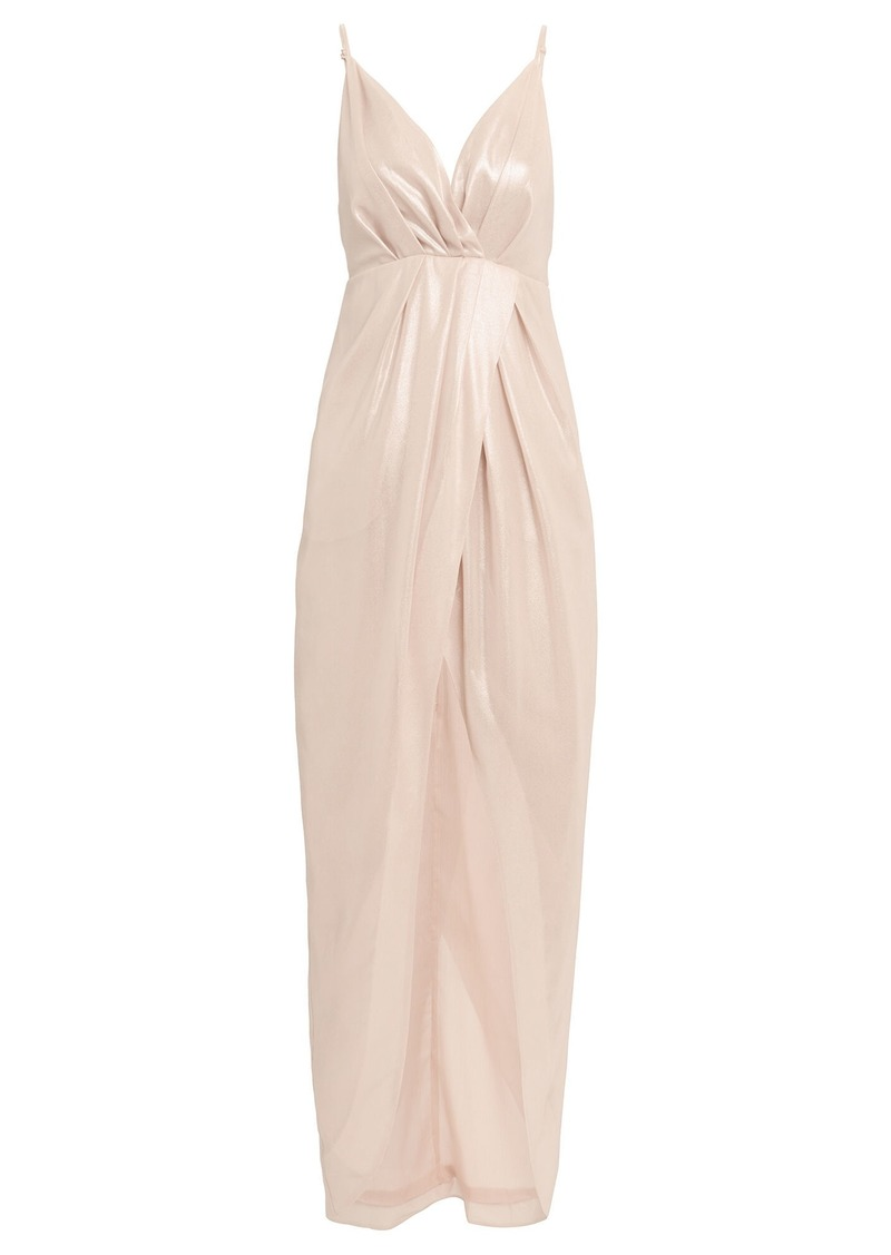 Jonathan Simkhai Metallic Pleated Slip Dress