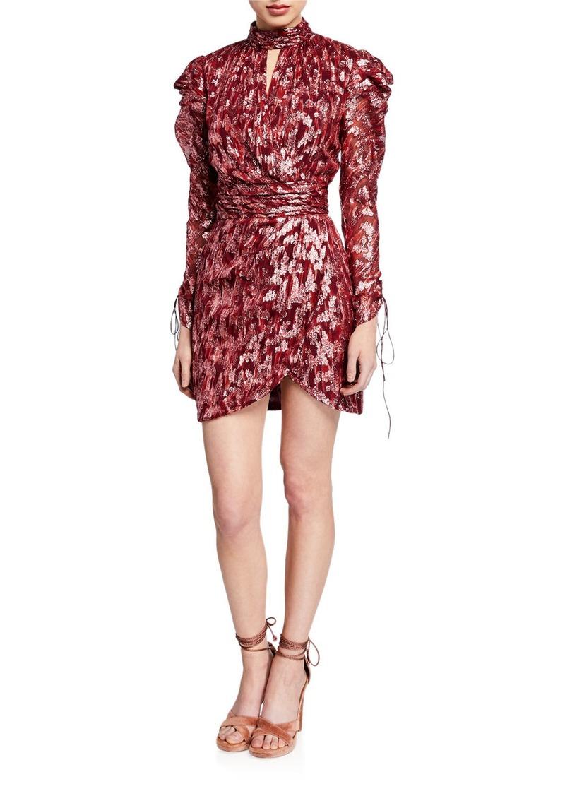 Jonathan Simkhai Metallic Vine Jacquard Mock-Neck Wrap Dress