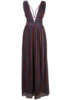 Jonathan Simkhai metallized striped maxi dress