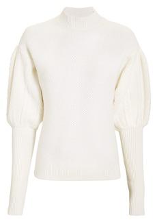 Jonathan Simkhai Mixed Knit Puff-Sleeved Sweater