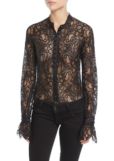 Jonathan Simkhai Mixed Lace Long-Sleeve Button-Front Bodysuit