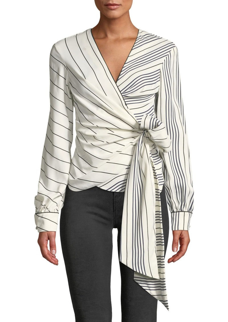 Jonathan Simkhai Multimedia Stripe Long-Sleeve Wrap Top
