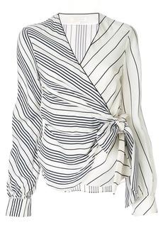 Jonathan Simkhai Multimedia stripe wrap-around top