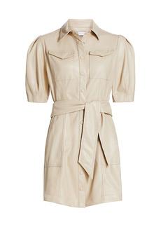 Jonathan Simkhai Novah Vegan Leather Short Sleeve Mini Dress