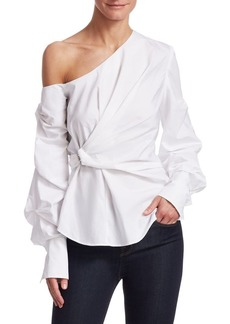 Jonathan Simkhai Pleated Combo Cold-Shoulder Wrap Top