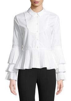 Jonathan Simkhai Pleated Oxford Peplum Button-Down Shirt
