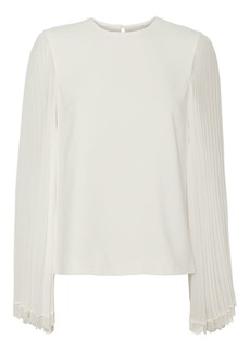 Jonathan Simkhai Pleated Sleeve White Blouse