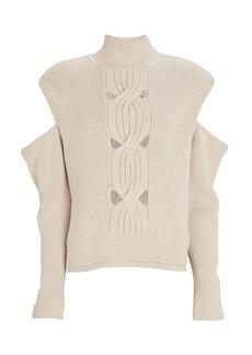 Jonathan Simkhai Porter Cold-Shoulder Turtleneck Sweater