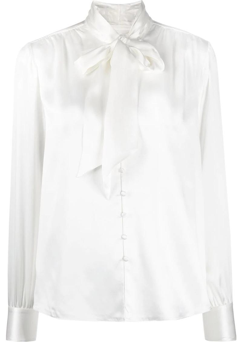 Jonathan Simkhai pussy bow satin blouse