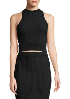Jonathan Simkhai Ribbed High-Neck Cropped Racerback Tank