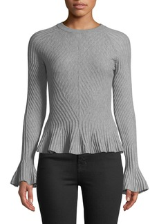 Jonathan Simkhai Ribbed Wool Bell-Sleeve Sweater