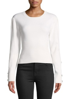 Jonathan Simkhai Ribbed Wool Puff-Sleeve Eyelet Top