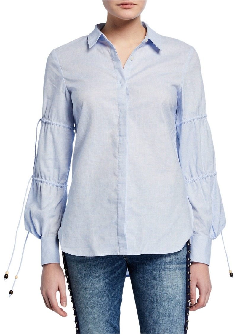 Jonathan Simkhai Ruched-Sleeve Striped Cotton Shirt
