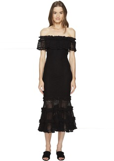 Jonathan Simkhai Ruffle Crochet Off the Shoulder Solid Gown Cover-Up