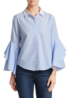 Jonathan Simkhai Ruffle Sleeve Button-Down Shirt