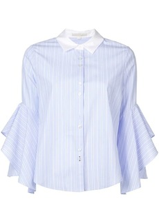 Jonathan Simkhai ruffle-sleeve striped shirt