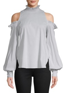 Jonathan Simkhai Ruffled Cold-Shoulder Blouse
