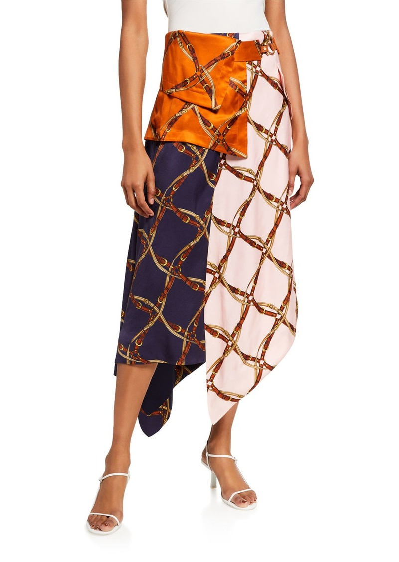 Jonathan Simkhai Saddle-Print Handkerchief Skirt