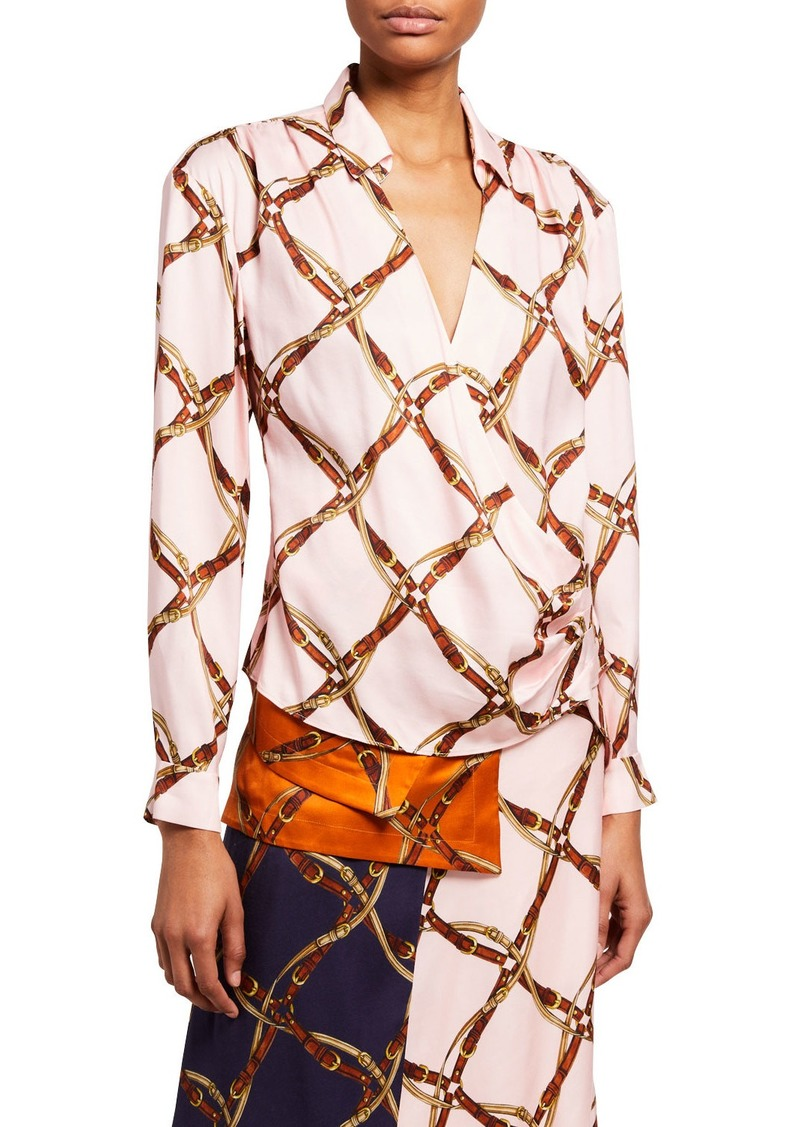 Jonathan Simkhai Saddle-Print Long-Sleeve Wrap-Front Shirt