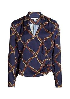 Jonathan Simkhai Saddle Print Wrap Shirt