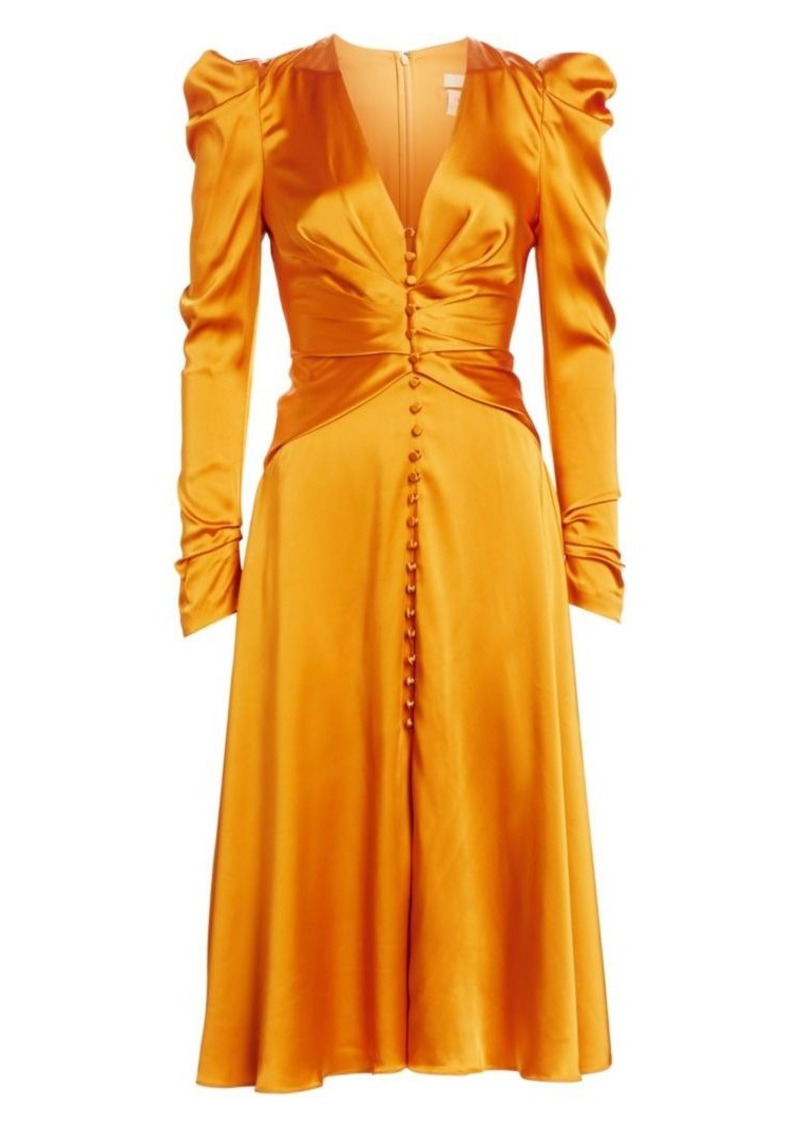 Jonathan Simkhai Sateen Long-Sleeve Ruched Dress