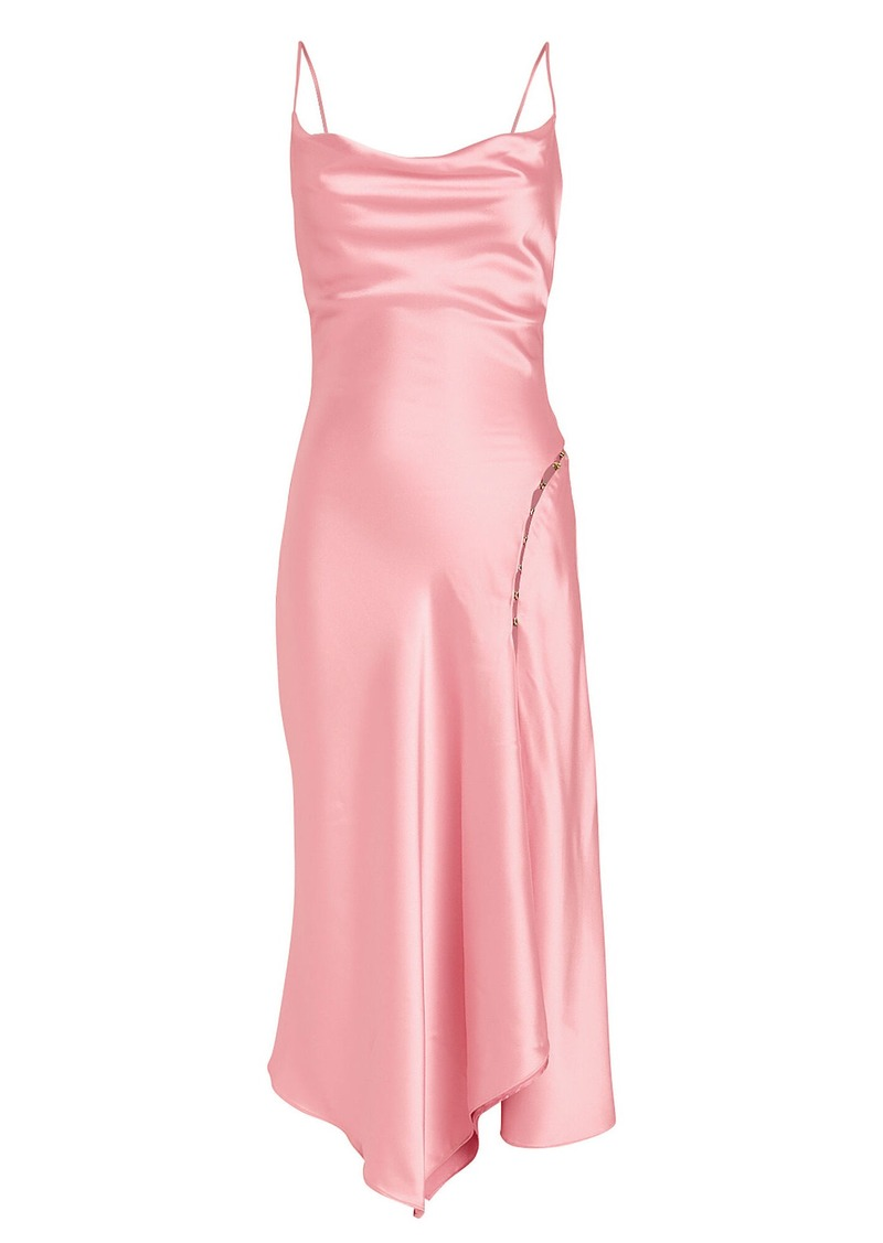 Jonathan Simkhai Satin Cowl Neck Slip Dress