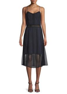Jonathan Simkhai Scallop Ripple Lace A-Line Dress