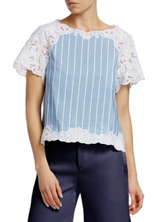 Jonathan Simkhai Scalloped Eyelet Top
