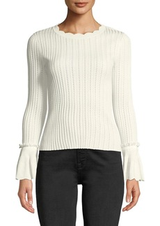 Jonathan Simkhai Scalloped  Ruffle Crewneck Top