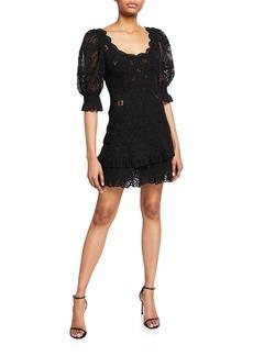 Jonathan Simkhai Scoop-Neck Puff-Sleeve Crochet Lace Ruffle Mini Dress