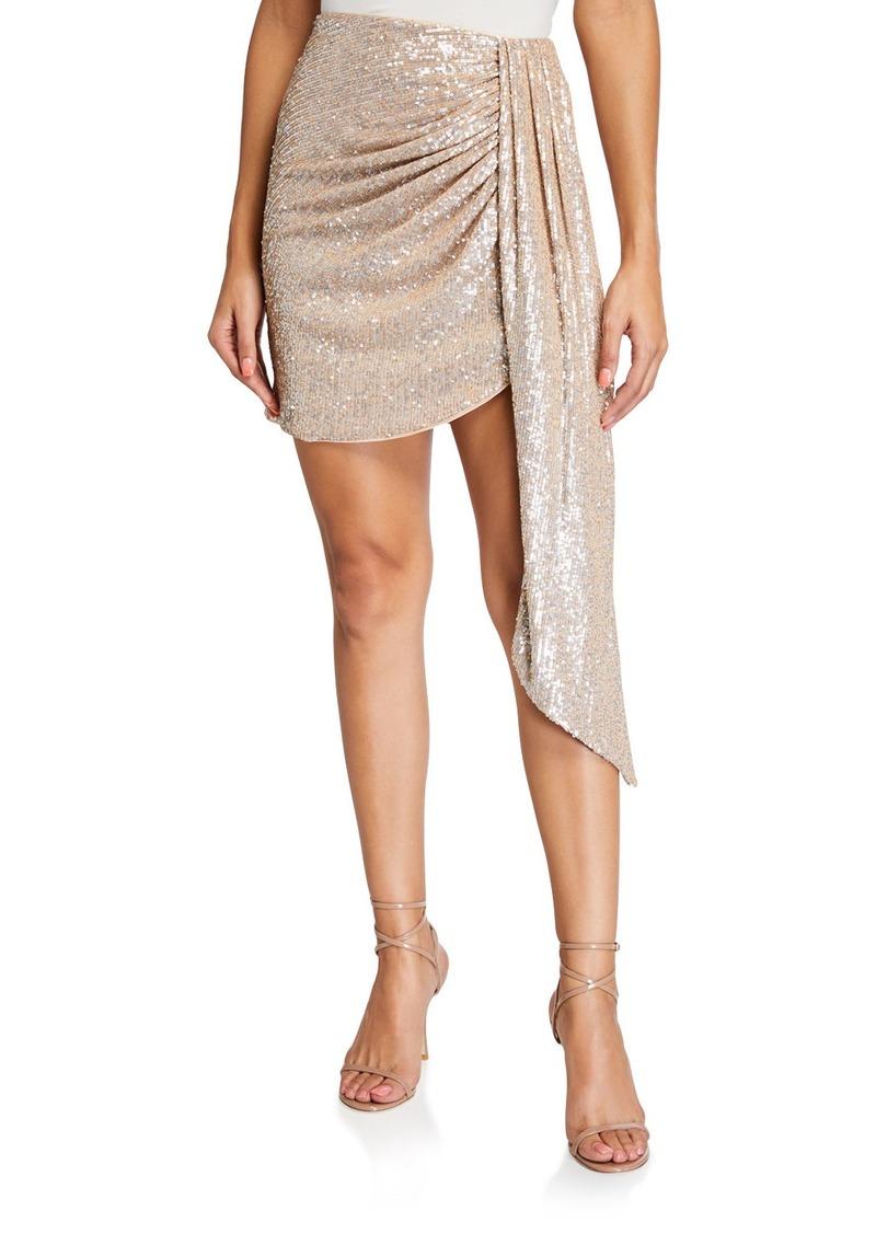 Jonathan Simkhai Sequined Draped-Front Mini Skirt