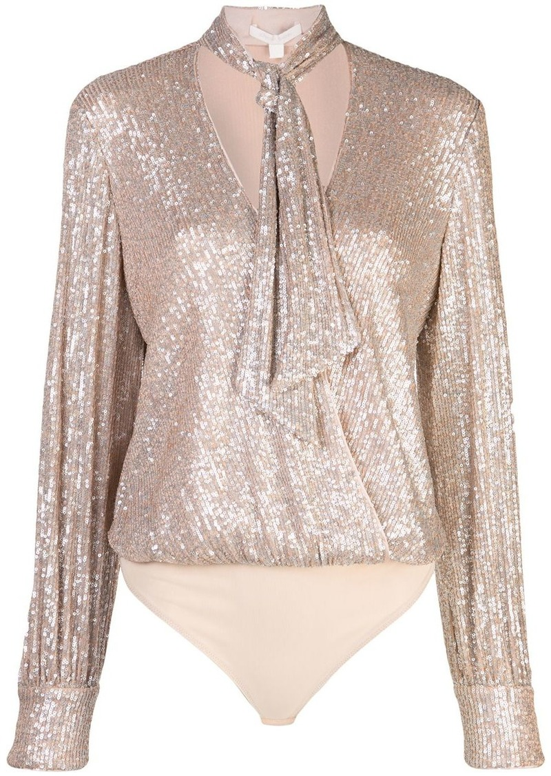 Jonathan Simkhai sequined tie-neck bodysuit