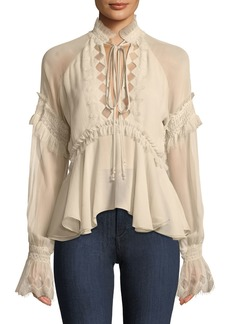 Jonathan Simkhai Silk Blouson-Sleeve Top with Lace