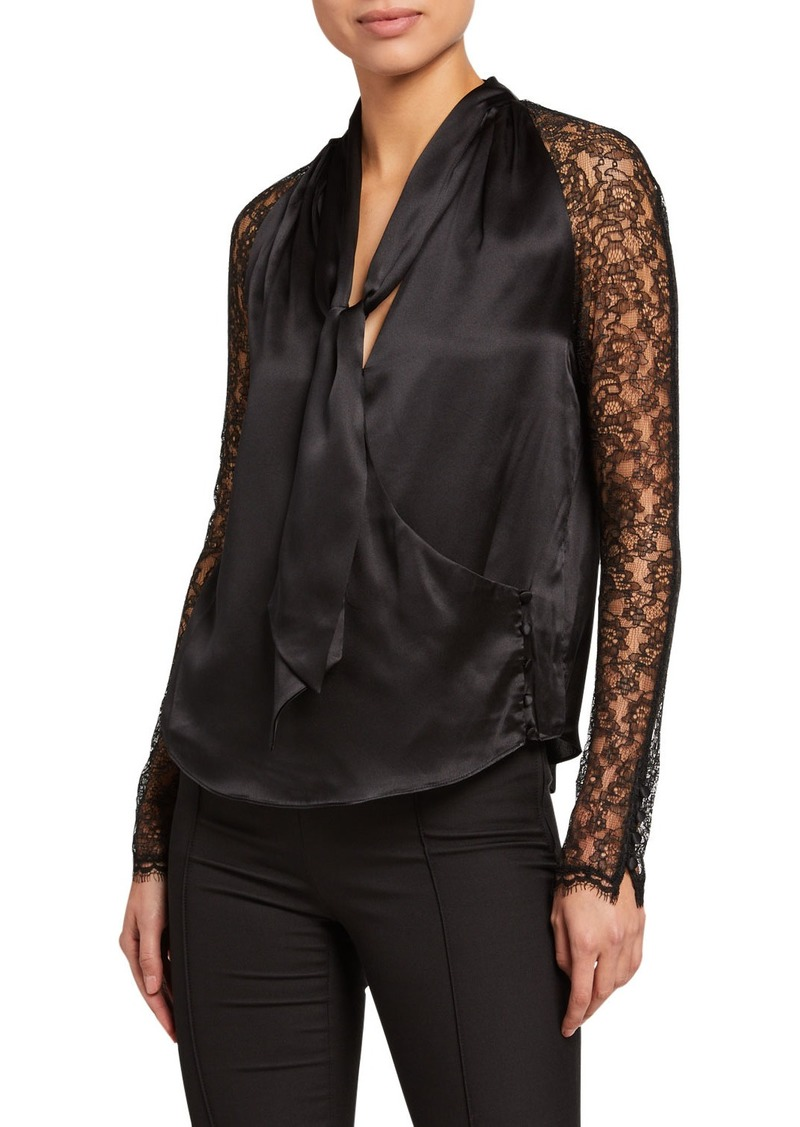 Jonathan Simkhai Silk Lace Long-Sleeve Wrap Top