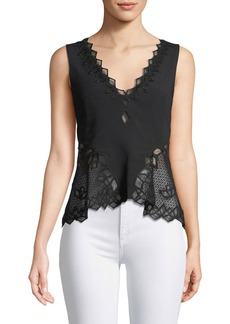 Jonathan Simkhai Sleeveless Diamond Applique Crepe Blouse