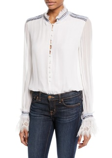 Jonathan Simkhai Smocked Silk Button-Front Bodysuit with Lace